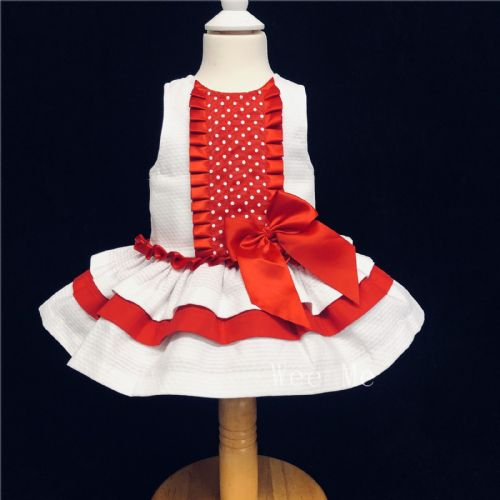 New Arrival Gorgeous Baby Girl White Summer Dress with Red Bow Polka Dots